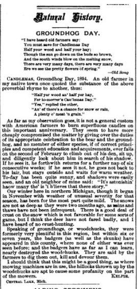 natural history groundhog day